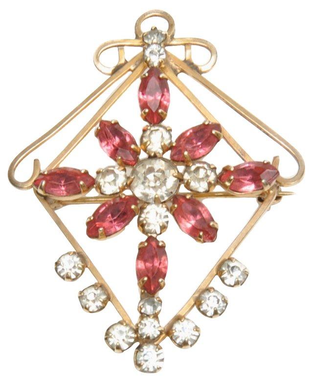 Rose Gold Rhinestone Brooch & Pendant