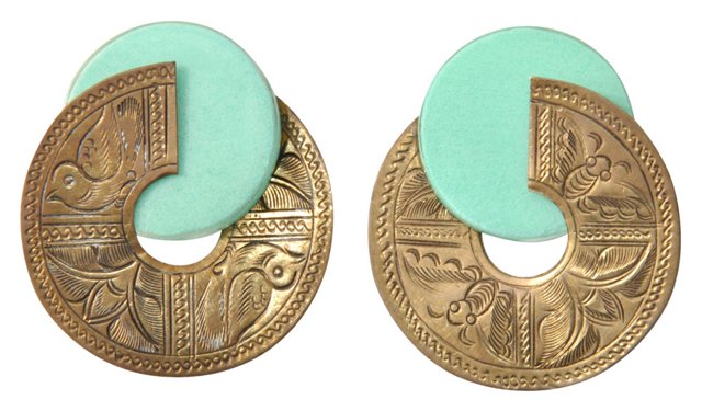 Egyptian Revival Brass Earrings