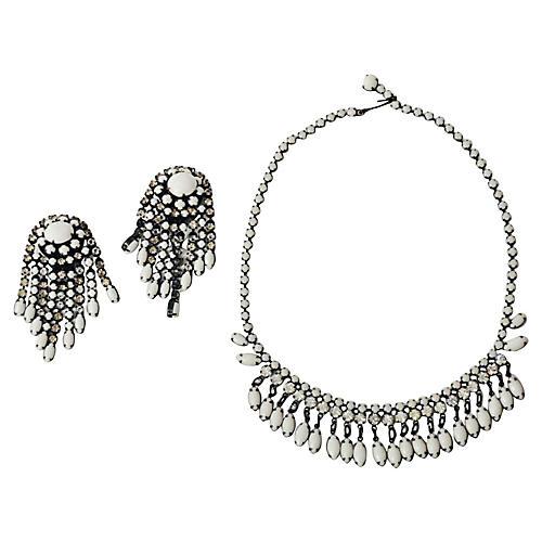 Milk Glass Earrings & Necklace Set