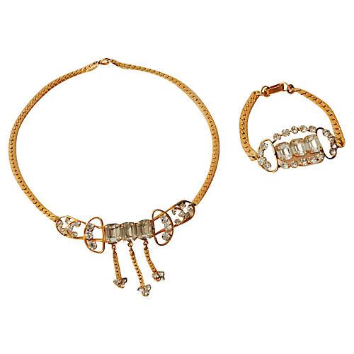 Rhinestone Necklace & Bracelet Set
