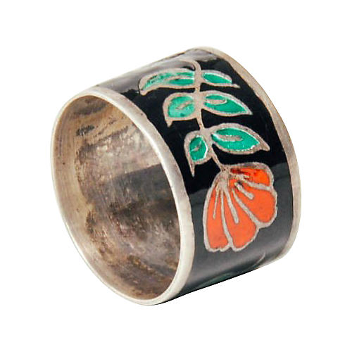Sterling Silver & Flower Enamel Band