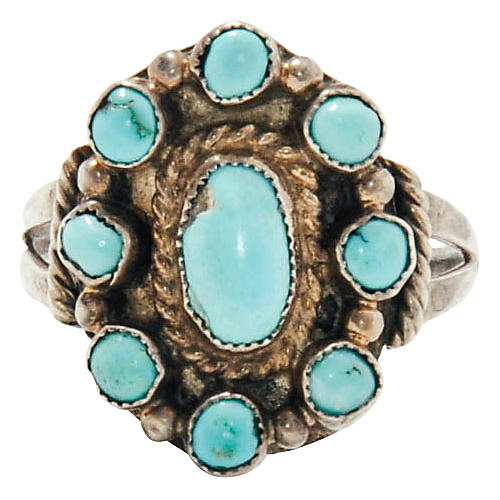 Zuni-Style Sterling & Turquoise Ring