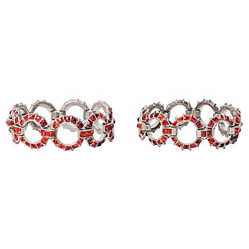 Art Deco Rhinestone Bracelets, Pair