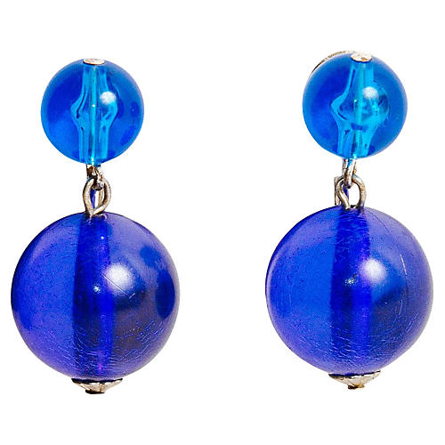 Blue Lucite Drop Earrings