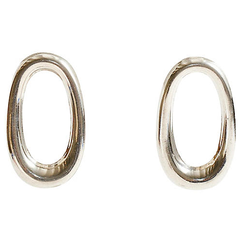 Sterling Silver Taxco Oval Earrings