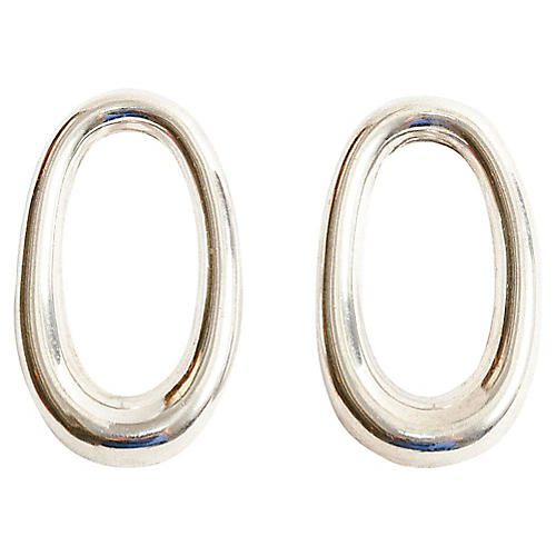 Sterling Silver Taxco Oval Earrings