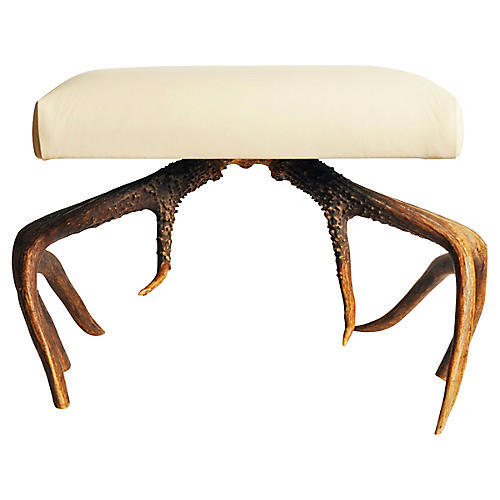 Antler Leather Stool