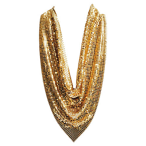 Gold Chainmail Bib Necklace