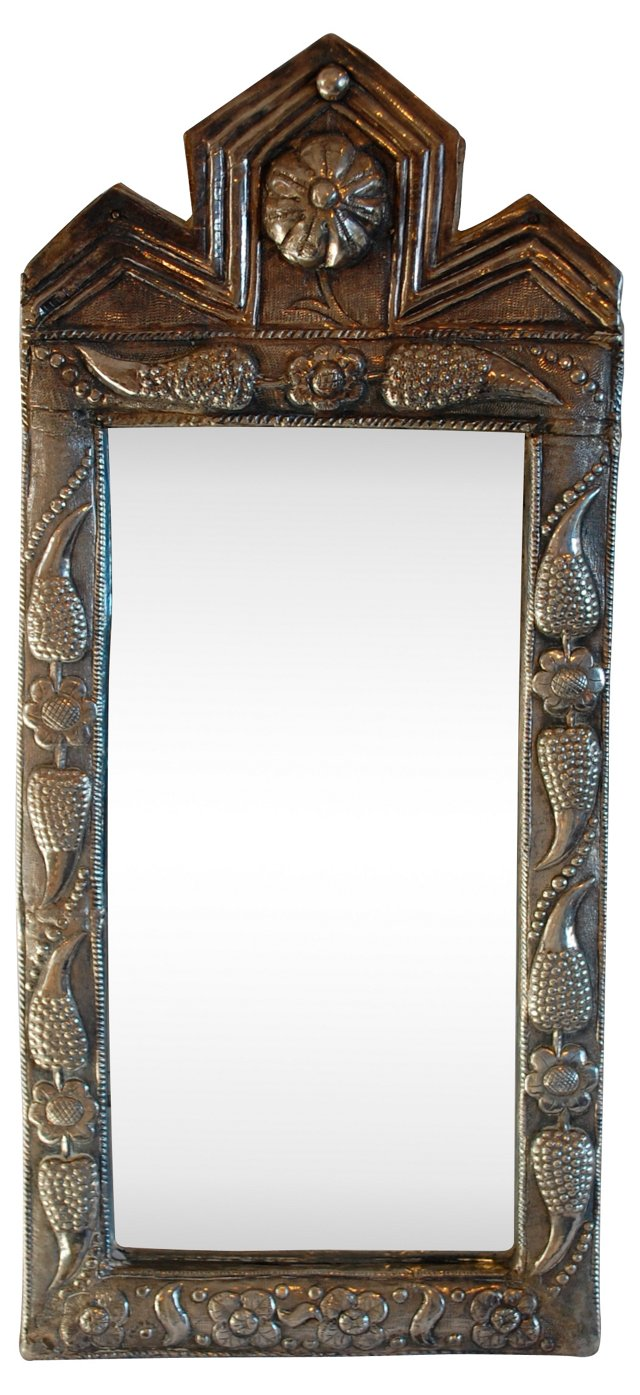Indian Embossed Silver Mirror