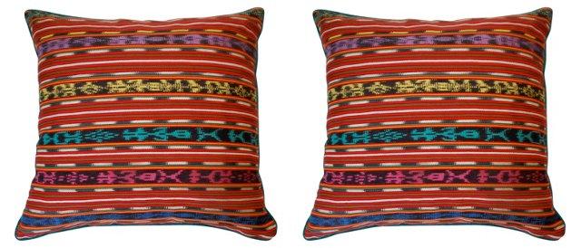 Pillows w/ Guatemalan Textile, Pair