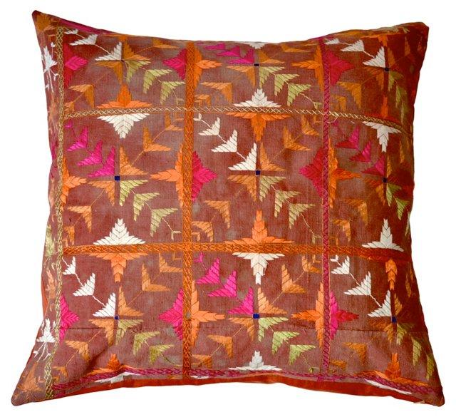 Phulkari Textile Embroidery Pillow