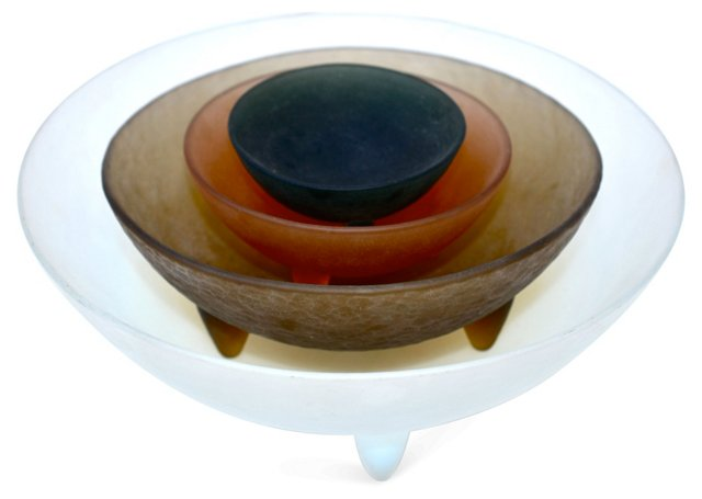 Italian Art Glass Frosted Bowls, S/4