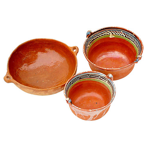 Vintage Mexican Terracotta Set of Bowls