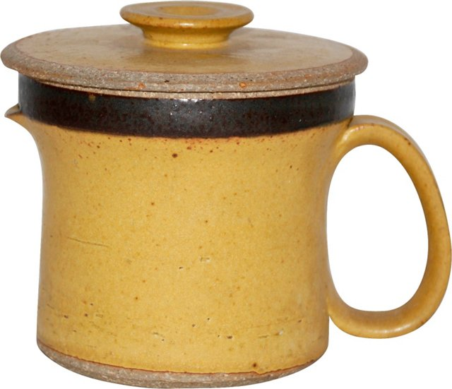 Studio Pottery Yellow Lidded Pitcher