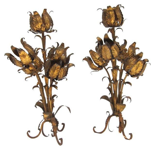 Gilt Floral Lamps, Pair