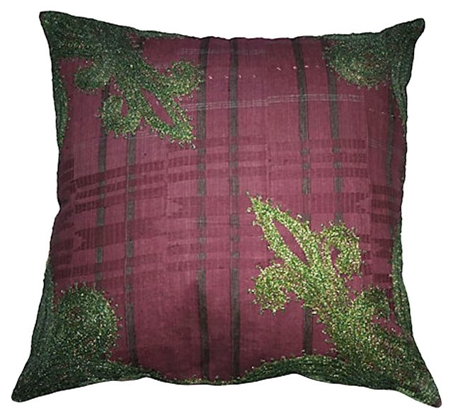 Plum Embroidered Nigerian Pillow