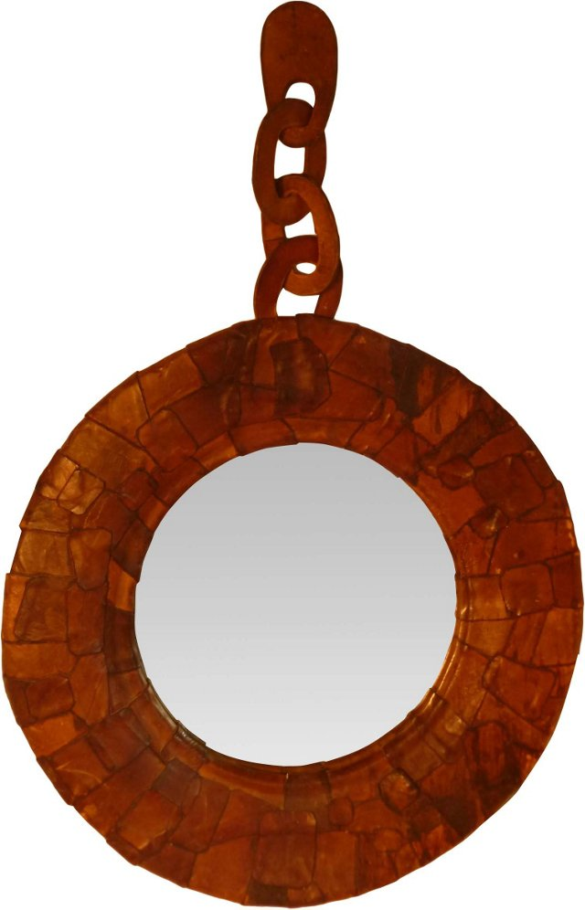Midcentury Leather-Framed Mirror