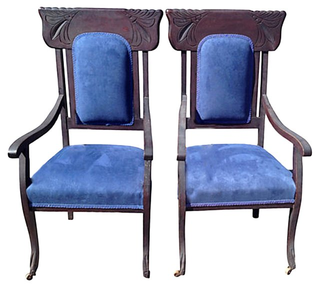 Victorian Style Armchairs, Pair