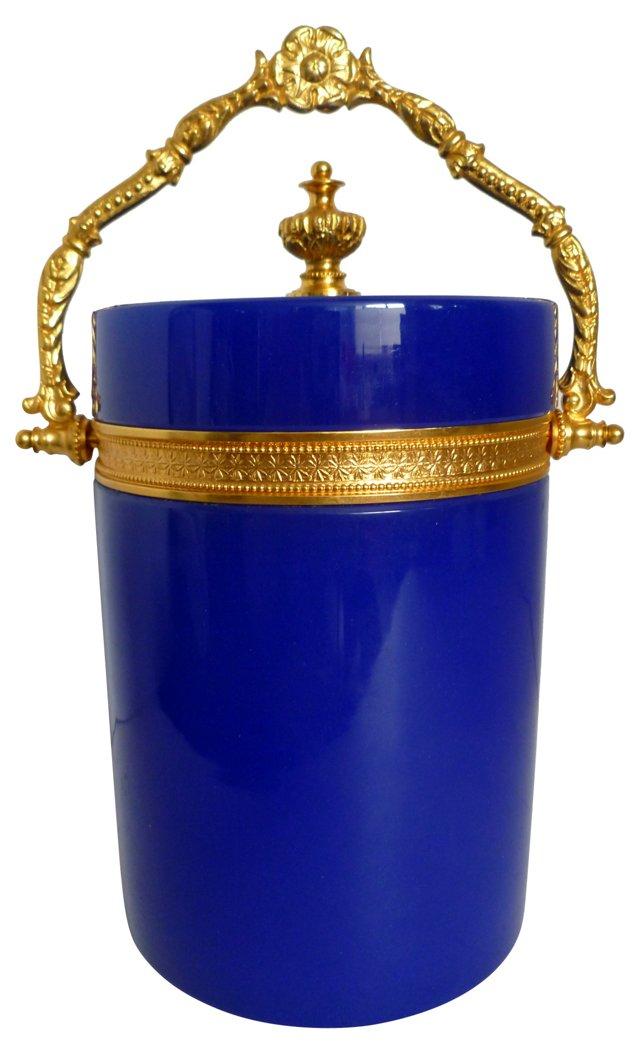 Antique French Blue Opaline Biscuit Jar