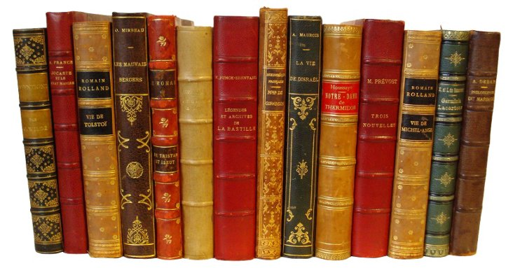French Leather-Bound Books, 14  Vols