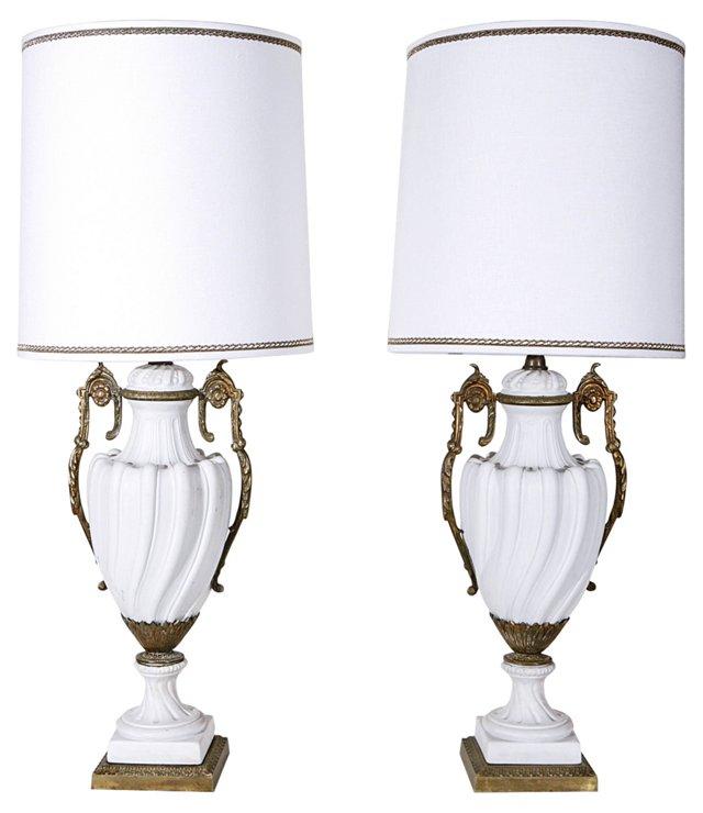 Porcelain & Ormolu Lamps, Pair
