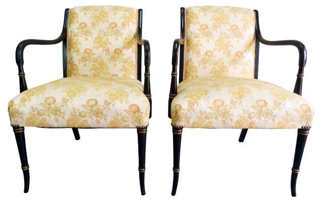 Regency-Style Gilt Black Chairs, Pair
