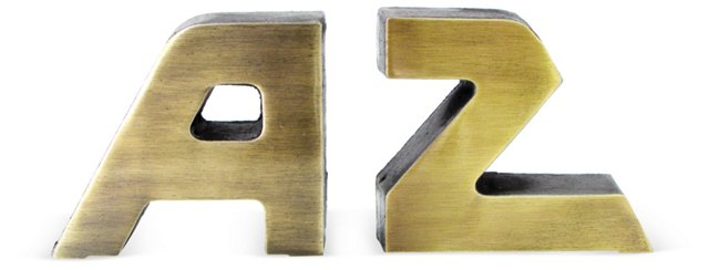 A to Z Brass Bookends