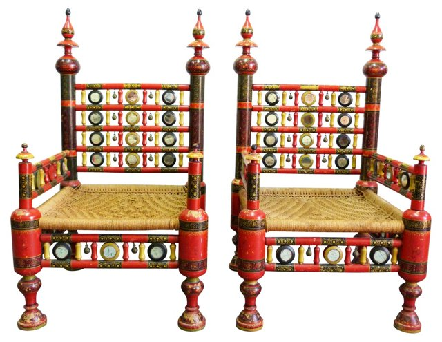 Indian Wedding Chairs, Pair