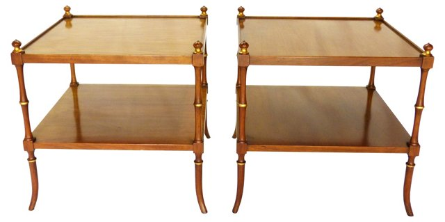 Faux-Bamboo Side Tables by Baker, Pair