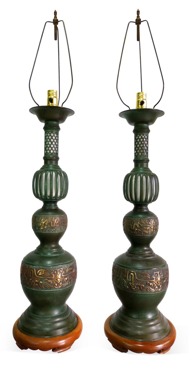 Japanese Bronze Table Lamps, Pair