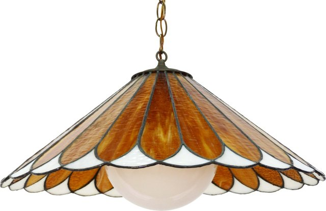 Stained-Glass Orange Petal Ceiling Light