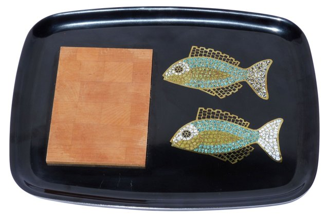 Couroc Fish-Inlay Cheese Board Tray