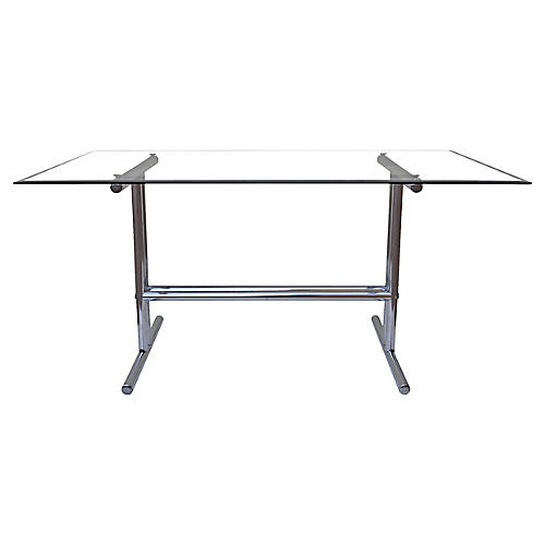 Italian Chrome & Glass Dining Table