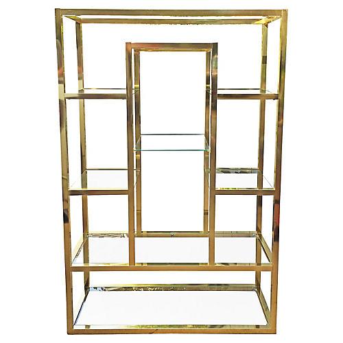 Oversize Brass Étagère w/ Mirror