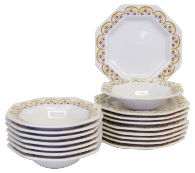 Ironstone Dessert Dishes, S/16