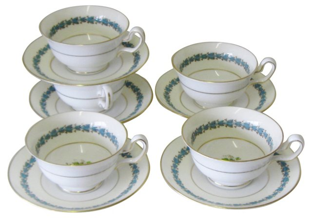 Wedgwood Appledore Teacups, Svc. for 5