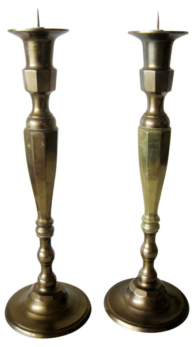 Brass Pillar Candlesticks, Pair