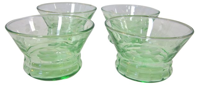 Green Glass Bowls, S/4