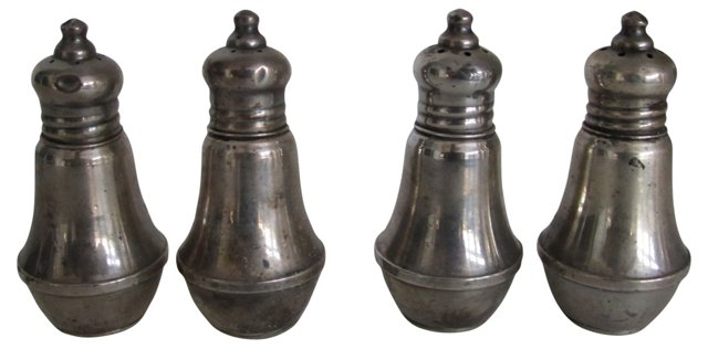 Sterling Salt & Pepper Shakers, S/4