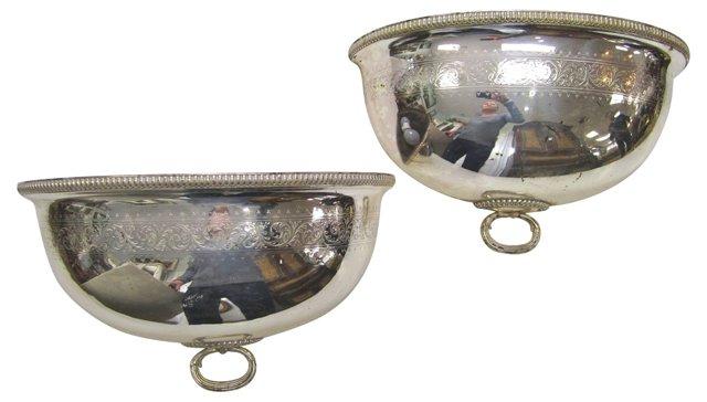 Antique Silverplate Sconces, Pair