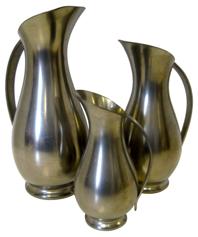 Pewter Pitchers, Set of 3