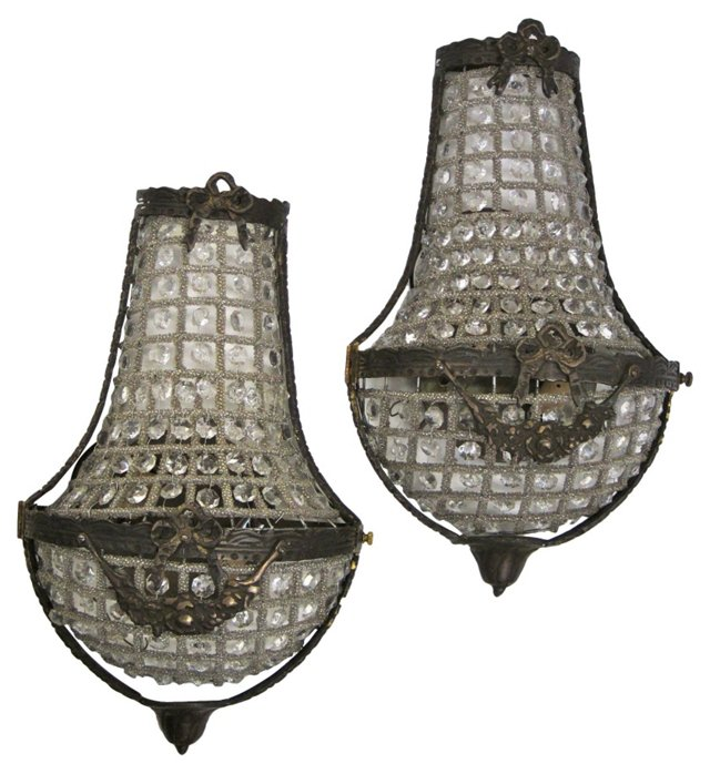 French  Crystal Cage Sconces, Pair