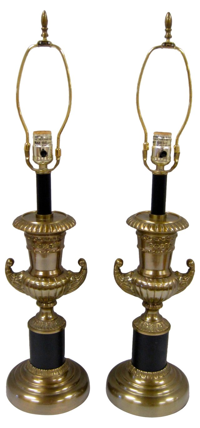 Leather & Brass Urn Lamps, Pair