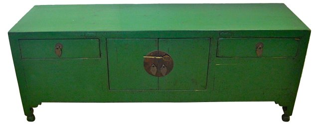 Antique Chinese Green  Cabinet