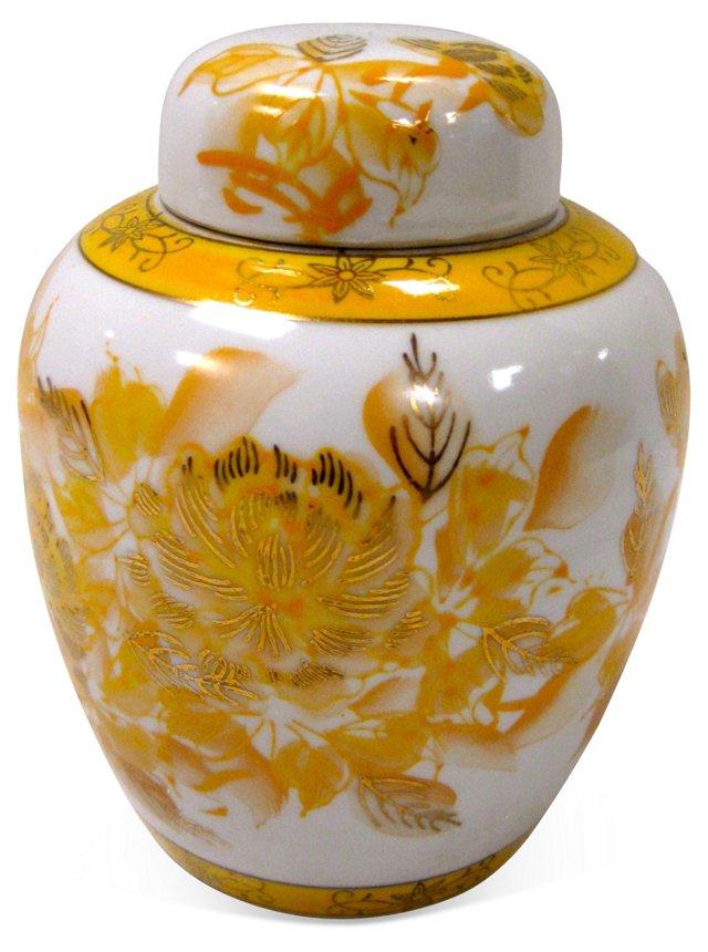 Asian Yellow & White Ginger Jar