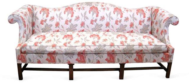 Floral  Camel-Back Sofa