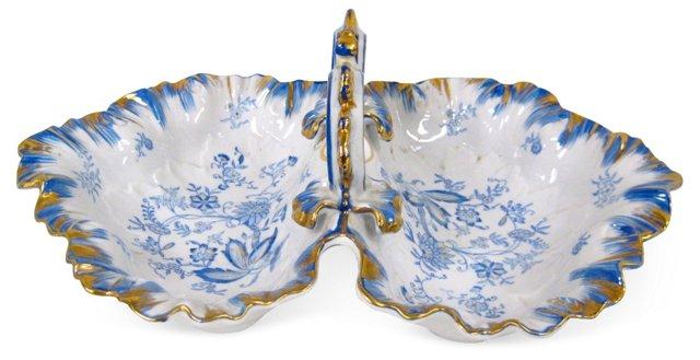 Blue & White Porcelain Divided Dish