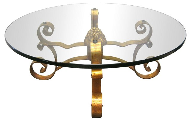Gilt Scroll Round Coffee Table
