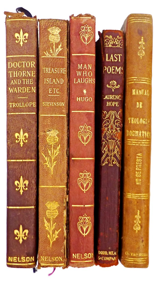 Antique Leather-Bound Books, S/5