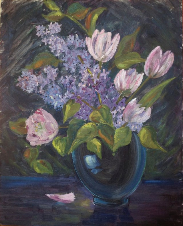 Lilacs & Pink Tulips
